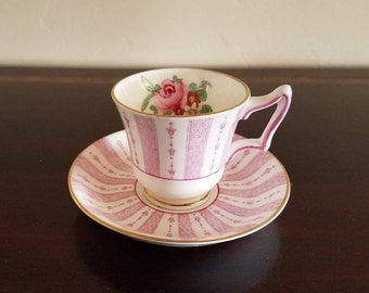 Crown Stafforshire Pink Paneled Demitasse Tea Cup and Saucer