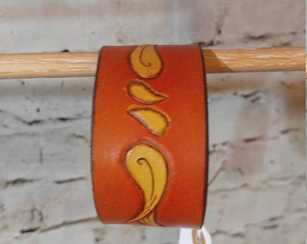 Leather bracelet, bracer, hand tooled, hand made - Ready to ship