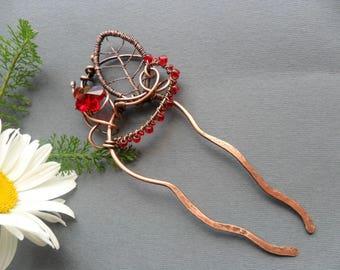 Leaf Hair fork, Metal hair stick, Hair jewelry, Bun holder, Copper hair pin, Wire hair accessories, Hair stick, Hair comb, Wire hair fork