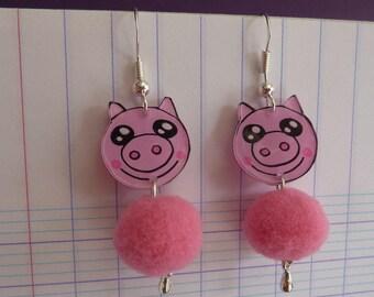 Sterling silver earrings 925 pink kawaii pig handpainted crazy shrink plastic and pink tassel