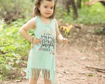 Girls Summer Dress, Summer Outdoor, Boho Baby, tank top dress, fringe dress, baby girl dress, mint fringe dress, tiny seeds mighty trees