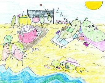 beach postcard Gemüsebrüder vegetable guys
