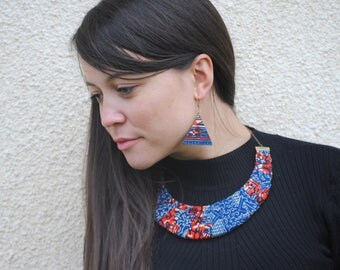African necklace, African fabric necklace, African Jewelry, Fabric necklace, Fabric choker, Ankara print necklace, Ethnic necklace