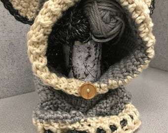 Crocheted Wolf Hooded Cowl with Ears and Tie