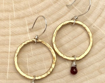 Mixed Metal Hammered Circle Hoop Bronze Garnet Earrings #655