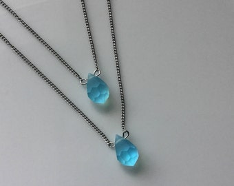 Beautiful silver stainless steel chain Stoke Bleu turquoise Swarovski Crystal pendent
