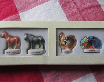 Set 6 French Porcelain Feves Breeds of Horse, types of fish figurines king cake epiphany surprise BOXED