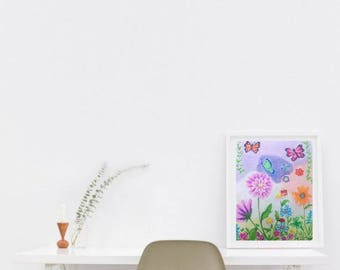 Flowers print, butterfly print, flowers wall art, butterfly wall art, Rustic flowers nursery, nature print, nature nursery, flowers nursery