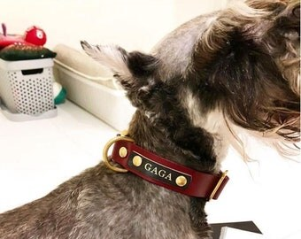 Leather Dog Collar Personalized Red Black Quick Release Name Custom Monogram Avaloncraft Henbury Dog Collar