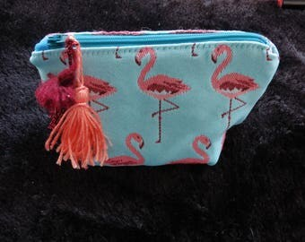 small zip purse flamingo with pompom, perfect gift for smart, hippie chic, boho, girly, vegan women !