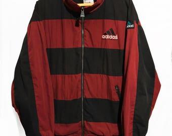 Vintage 90s Adidas Equipment Windbreaker Jacket Red And Black Striped  Sz L