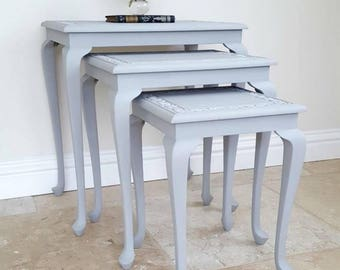 Vintage Nest of 3 Tables, Occasional Tables, Side Tables, Hand Painted Grey Table, French Country