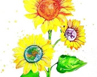 Originale Malerei von Buttafly (Vanessa Brünsing - )Sunflower - 2017 - 42 cm x 56 cm