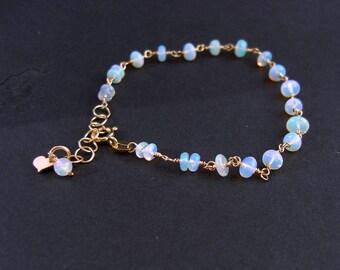 Welo Opal Bracelet, goldfilled, October birthstone, gold filled gemstone bracelet,