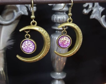 Earrings To the Moon and Back - choose 3 colors - cabochon - Crescent Moon - Mermaid - iridescent - romantic - girly - Valentine's day