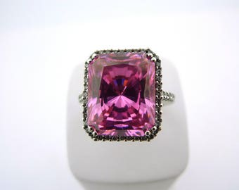 Imitation Pink Sapphire and Diamond Ring .20cttw 18K White Gold