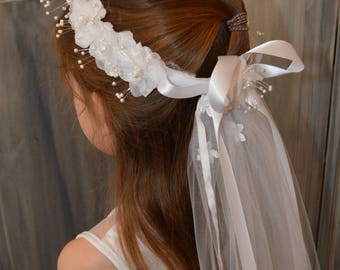 White  First Communion Veil / Floral Wreath with Barrette closure / Satin Ribbons