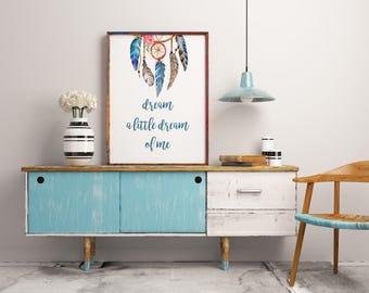 Nursery Art Print, Dream a Little Dream, Boy Nursery Quote, Dream Catcher Art, Baby Bedroom, Wall Decor, Decoration Blue, Nursery Decor