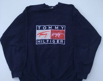 TOMMY HILFIGER sweatshirt vintage blue shirt, 90s hip-hop clothing, 1990s hip hop shirt, Tommy big logo gangsta rap, sewn big logo, size XL
