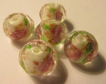 Faceted Clear White Glass Beads with Pink Roses, 12mm, Set of 5