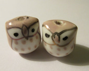 Ceramic Hand Painted Beige Kawaii Baby Owl Beads, 15mm, Set of 2
