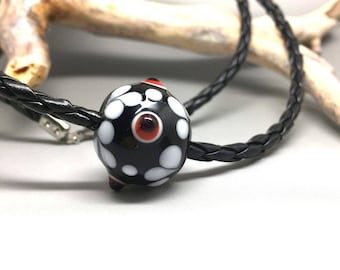 Leather necklace, glass jewelry, pearl necklace, necklace with braided black leather strap, pearl, lampwork bead, gift for you