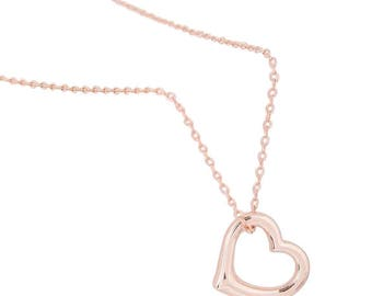 14K Rose Gold Plated Heart Pendant Necklace Jewellery for Women Girls Present Gift Boxed