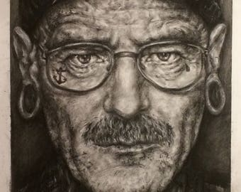 Walter White Breaking Bad Bryan Cranston Original Pencil Drawing Minimalism Fine Art Portrait Fan