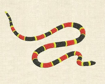 Machine embroidery design coral snake