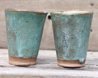 Tumblers, Set of Two, Hand Built, Pottery, Slab, Rustic Design, Turquoise, Birch