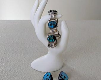 Vintage Demi Parure Set, Bracelet & Screw Post Earrings, Butterfly Wings, Hoffman Sterling Silver, Tropical, Turquoise Blue, Ca. 1940s