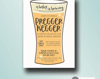 coed baby shower invitation   a baby is brewing   printable pregger kegger baby shower invitation   digital invitation template