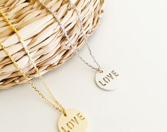 Love necklace, gold necklace, silver necklace, gift for girlfriend
