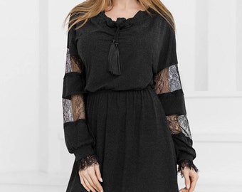Black dress casual wear Midi dress spring Office dress lace Casual womens gown Knee Day dress Jersey dress long sleeve Dress king size