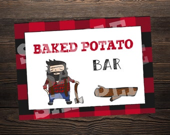 Baked Potato Bar Sign // Lumberjack Party //  5 x 7 and 8.5 x 11 // Instant Digital Download PDF