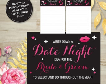 Date Night Ideas Game, Hens Party, Bridal Shower, Bachelorette, Printable Games, Digital Download, Pink and Black, Burlesque, Wedding Shower
