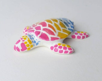 Pan Pride Turtle  - paper clay sculpture // Ready To Ship // pride flag // gift for them // birthday gift // lbgt pride // pansexual