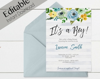 Baby Shower Invitation, Editable PDF, Baby Shower Boy, Baby Boy, Editable Invitation Boy, Editable baby shower template