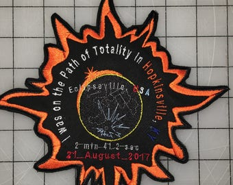 Commemorative Great American Eclipse Patch (for the Point of Greatest Eclipse, Hopkinsville, KY aka Eclipseville, USA)