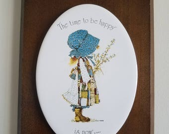 Holly Hobbie Vintage Wood And Ceramic Wall Decor