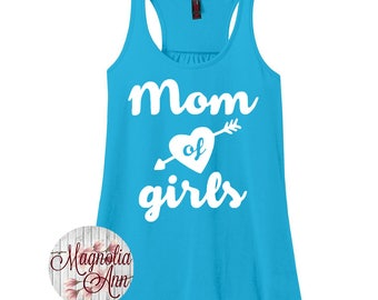 Mom Of Girls, Mom Life, Women's Racerback Tank Top in 9 Colors in Sizes Small-4X, Plus Size