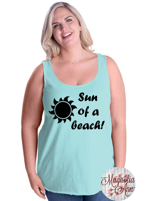 Sun Of A Beach, Summer, Ocean, Women's Premium Jersey Tank Top in Sizes Small-4X, Plus Sizes, Curvy, Lots of Colors