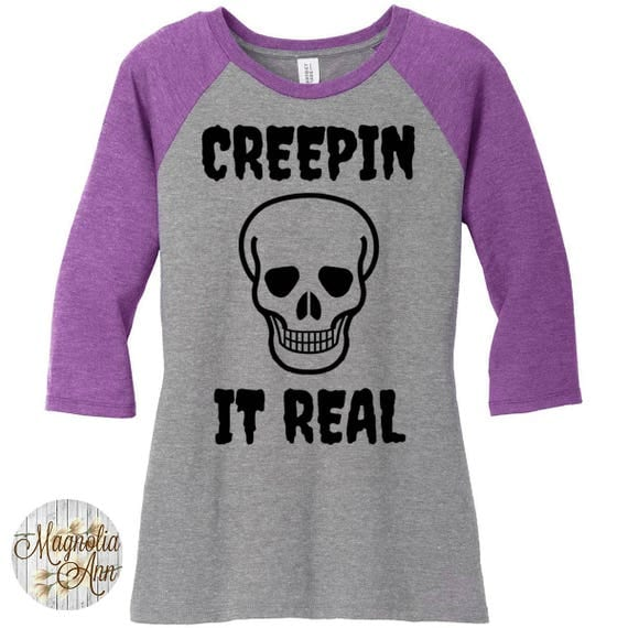Creepin It Real, Skull Head, Halloween, Women's Baseball Raglan 3/4 Sleeve Shirt in Sizes Small-4X, Plus Size Clothing, Plus Size Halloween