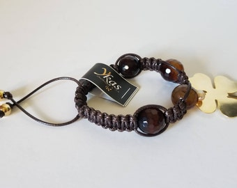 Bracelet with adjustable and beautiful Brown lace agate facetted.