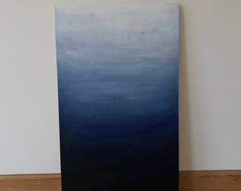 Ocean ombré painting on wood panel