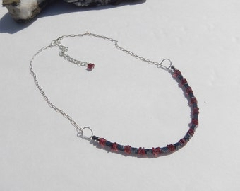 Hematite and Garnet Necklace, Hematite (Hemalyke), Natural Garnets, Sterling Silver, Red Black Silver Jewelry, January Birthstone Jewelry