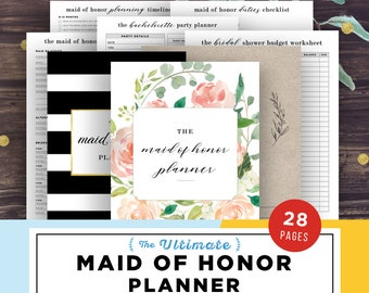 Maid of Honor Planner, Maid of Honor Gift Ideas, Proposal, Will You Be My Maid of Honor, Printable PDF, DIY Wedding Planner Notebook