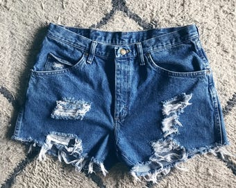 Distressed High Waisted Wranglers