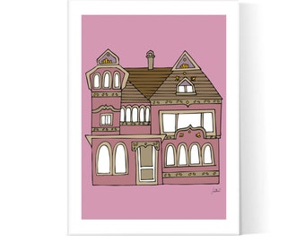 Victorian Pink House Illustration / Victorian Architecture / Home Poster / House Print / Printable / Instant Download / 2JPEG Files