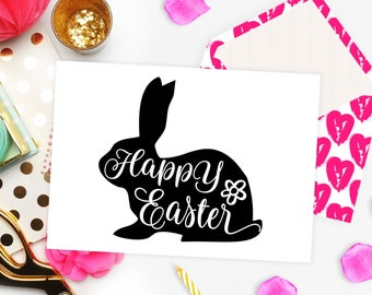 Happy Easter svg Bunny Easter svg file for Cricut cutting file Easter bunny cut file Vector svg file Cuttables Silhouette files with bunny